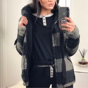 Jackets & Blazers - Black/Gray Plaid Teddy Jacket